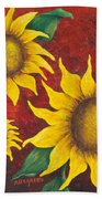 Sunflowers At Sunset Beach Towel