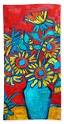 Sunflowers Bouquet Beach Towel
