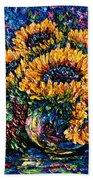 Sunflowers Bouquet In Vase Beach Towel
