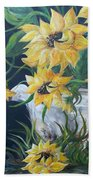 Sunflowers In An Antique Country Pot Beach Towel
