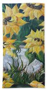 Sunflowers In An Antique Country Pot Beach Towel by Eloise Schneider