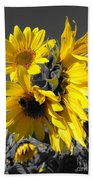 Yellow Selected Sunflowers Beach Towel