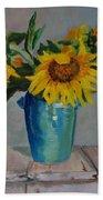 Sunflowers In Blue Vase Beach Towel