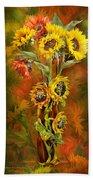Sunflowers In Sunflower Vase Beach Towel by Carol Cavalaris