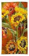 Sunflowers In Sunflower Vase - Square Beach Towel
