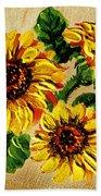 Sunflowers On Wooden Board Beach Towel