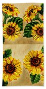 Sunflowers Pattern Country Field On Wooden Board Beach Towel