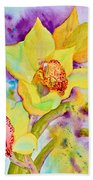Sunny Splash Of Orchids Beach Towel