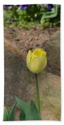 Sunny Yellow Tulips Series  Picture B Beach Towel