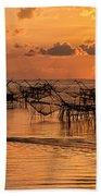 Sunrise At The Fishing Village Beach Towel