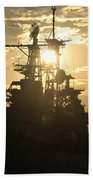 Sunrise At The Naval Base Silhouette Erie Basin Marina V2 Beach Towel
