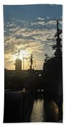 Sunrise At The Naval Base Silhouette Erie Basin Marina V5 Beach Towel