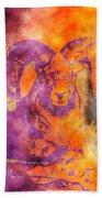 Sunrise Ram Water Color Beach Towel
