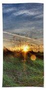 Sunrise Through Grass Beach Towel