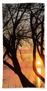 Sunrise Through The Chaos Of Willow Branches Beach Towel