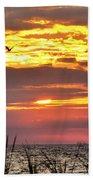 Sunrise Through The Grass Beach Towel