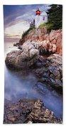 Sunset At Bass Harbor Lighthouse Beach Towel