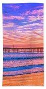 Sunset At Cayucos Pier Beach Towel