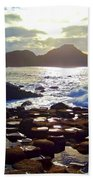 sunset at Giant's Causeway Beach Towel