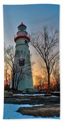 Sunset At Marblehead Lighthouse Beach Towel