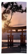 Sunset At Miyajima Beach Towel