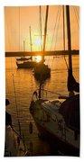 Sunset At Morro Bay Beach Towel