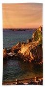 Sunset At Port Blanc - Cote De Granit Rose Beach Towel