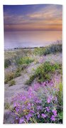 Sunset At The Beach  Flowers On The Sand Beach Towel