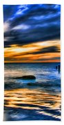 Sunset At Washed Out Pier Beach Towel