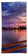 Sunset Balcony Of The West Palm Beach Skyline Beach Towel by Debra and Dave Vanderlaan