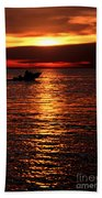 Sunset Boaters Beach Towel