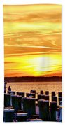 Sunset By The Dock Beach Towel