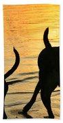 Sunset Dogs  Beach Towel