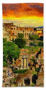 Sunset In Rome Beach Towel by Stefano Senise