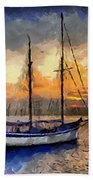 Sunset In The Bay Beach Towel