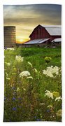 Sunset Lace Pastures Beach Towel by Debra and Dave Vanderlaan