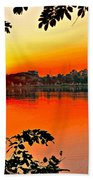 Sunset Leaves Beach Towel
