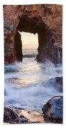 Sunset On Arch Rock In Pfeiffer Beach Big Sur California. Beach Sheet