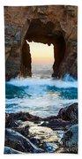 Sunset On Arch Rock In Pfeiffer Beach Big Sur. Beach Towel