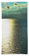 Sunset On The Bay Of Green Bay Wi Beach Towel