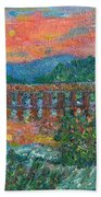 Sunset On The New River Beach Towel by Kendall Kessler