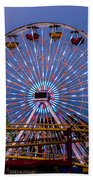 Sunset On The Santa Monica Ferris Wheel Beach Towel