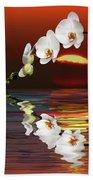 Sunset Orchids Beach Towel