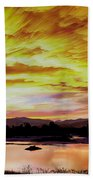 Sunset Over A Country Pond Beach Towel