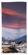 Sunset Over Granada And The Alhambra Castle Beach Towel