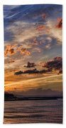 Sunset Over Rethymno Crete Beach Towel