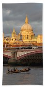 Sunset Over St Pauls Cathedral London Beach Towel