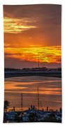 Sunset Over The Bridge Beach Towel