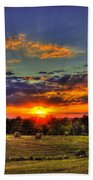 Sunset Over The Hay Field Beach Towel