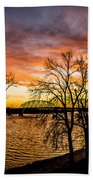 Sunset Over The Mississippi River Beach Towel